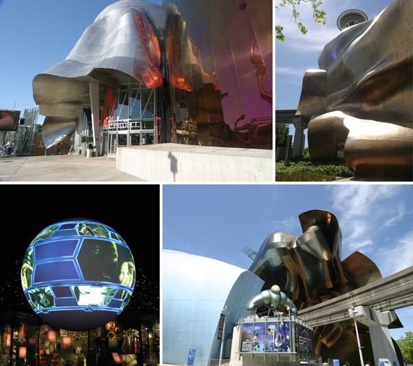 EMP e Sci-Fi Museum, ficam em um prédio do arquiteto Frank Ghery