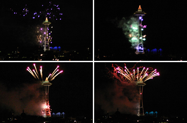 Os fogos do Reveillon na Space Needle, vistos do cruzeiro da Argosy