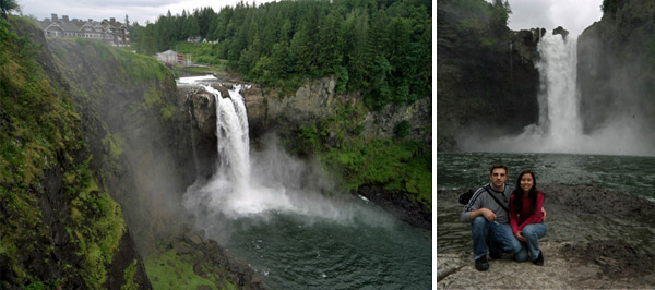 Snoqualmie Falls, com o Salish Lodge no topo