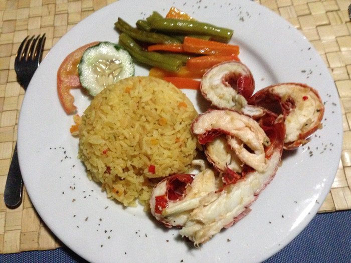 Lagostins, arroz e legumes no jantar do Yandup Lodge