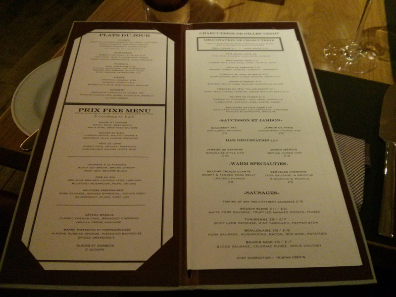 menu do Bar Boulud Londres