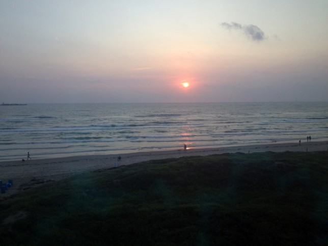 Bom dia, direto da nossa janela no Schlitterbahn South Padre Island resort
