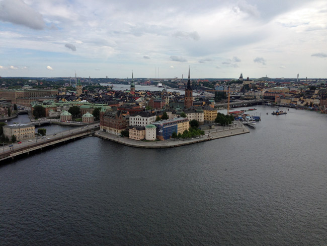 Estocolmo vista da torre do Stadhuis (Gamla Stan no meio)
