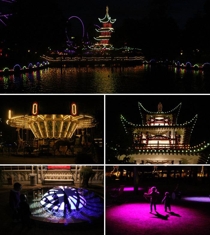 Tivoli iluminado a noite, lindo