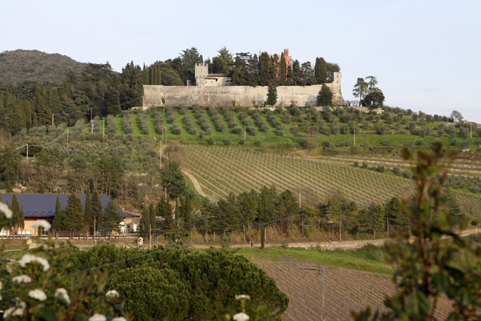 Nos despedindo do Castello di Brolio, visto da estrada.