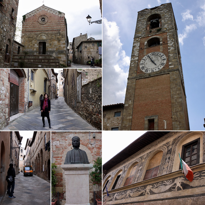 Passeando por Colle Alta, a Chiesa, a torre do Duomo, estátua de Arnolfo di Cambio e o Palazzo del Comune