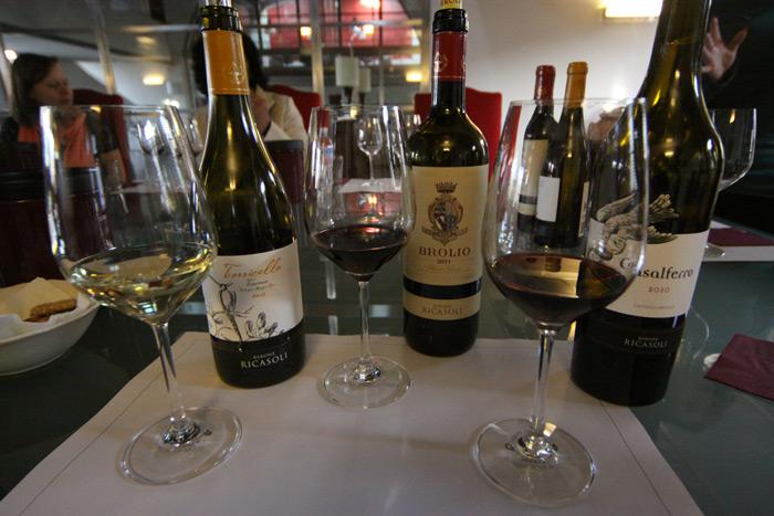 Os vinhos da Barone Ricasoli que nós provamos na degustação