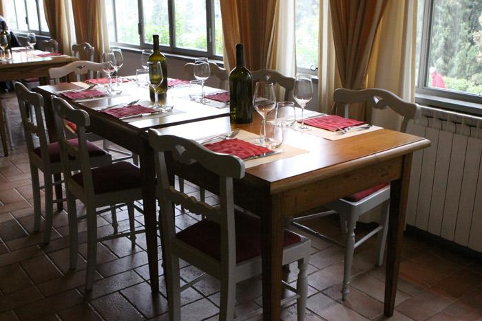 Nossa mesa na Osteria del Castello