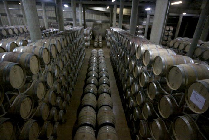 As barricas onde os vinhos envelhecem