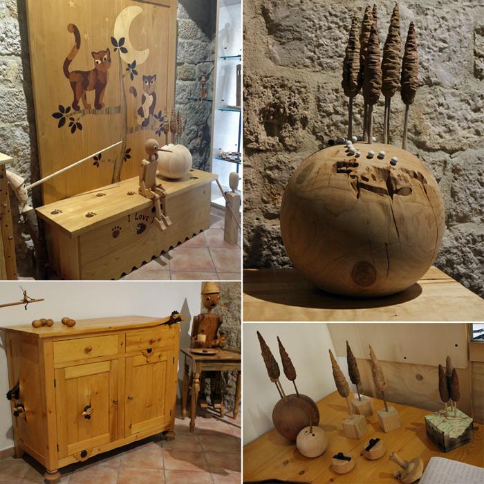 Trabalhos em madeira do artista Salvatore Poma