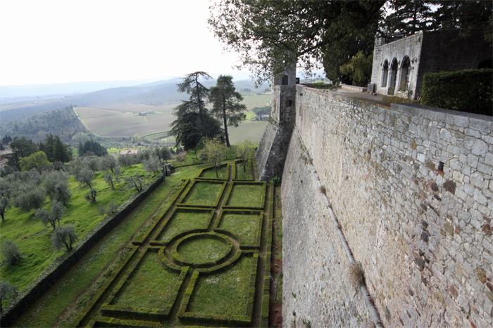 Muralha, jardim e algumas oliveiras a esquerda