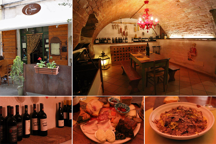 Trattoria Bel Mi Colle, nossa mesa na adega e comida deliciosa