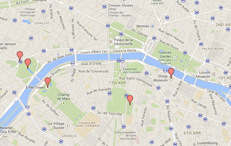 Mapa dia 1 Paris