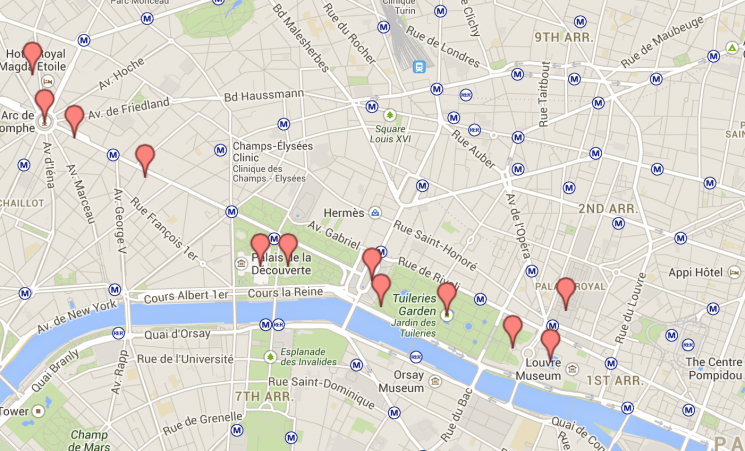Mapa dia 2 Paris