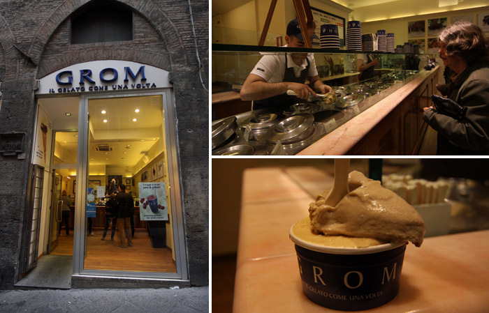 Gelato delicioso no Grom em Siena