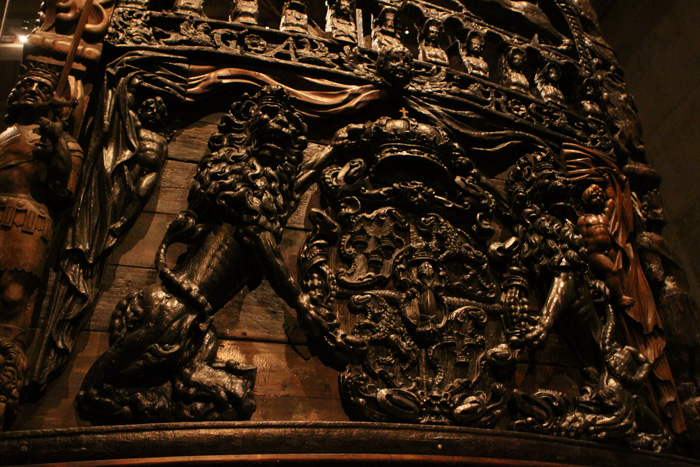 Detalhe do navio Vasa, lindamente esculpido