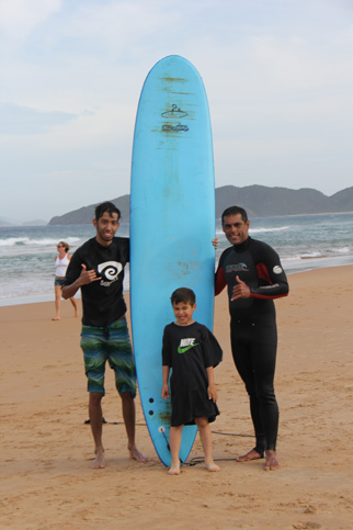 Nick depois da aula de surf