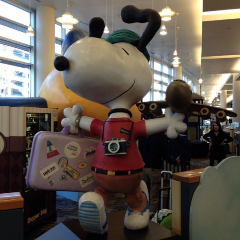 Snoopy no aeroporto