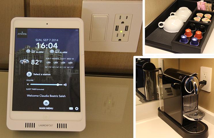 O Ipad, as tomadas USB ao lado da cama e a máquina de Nespresso