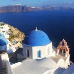 Como achar a igreja do teto azul, cartão postal de Santorini na Grécia
