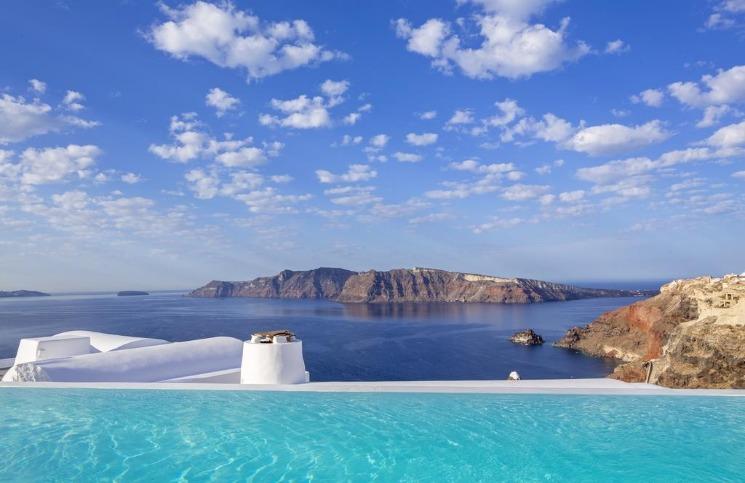 Hotéis com borda infinita em Santorini -
