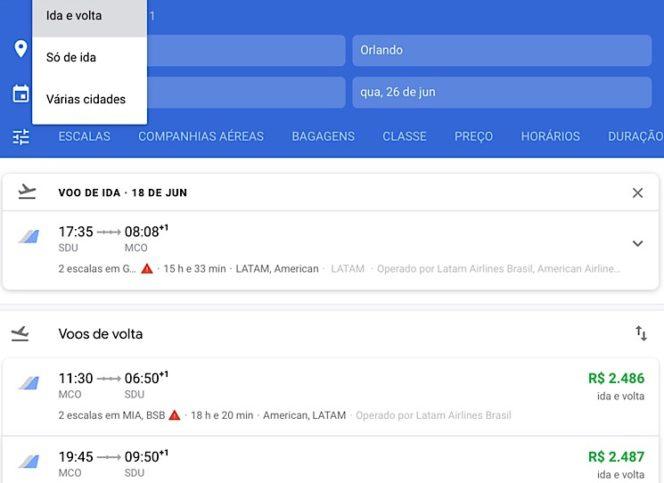 Múltiplos destinos Google flights