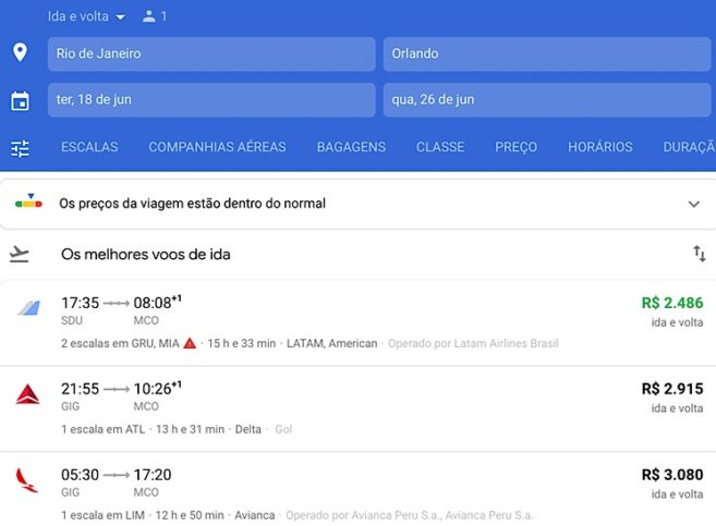 Escolhendo voo Google flights
