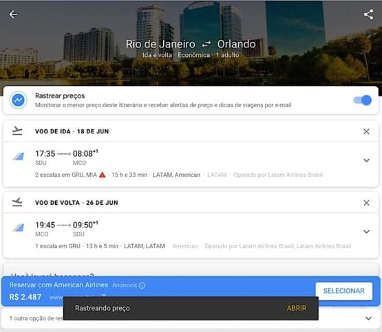 Finalizando no Google flights