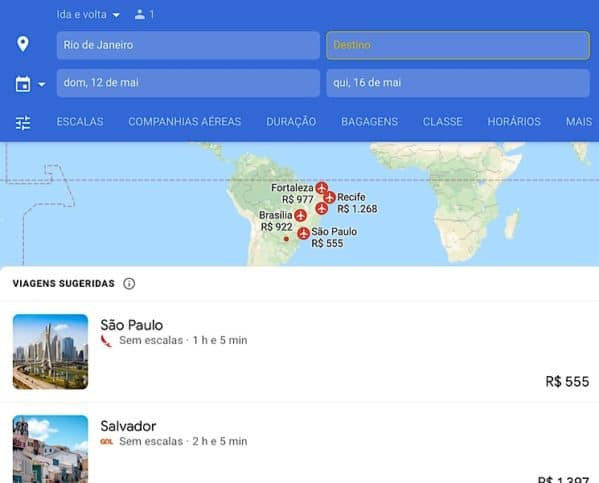 Inserindo destino Google flights