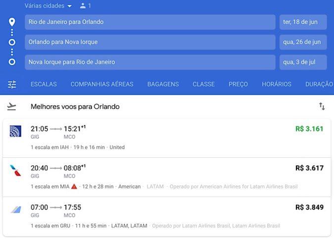 Selecionando primeira passagem múltiplos destinos Google flights