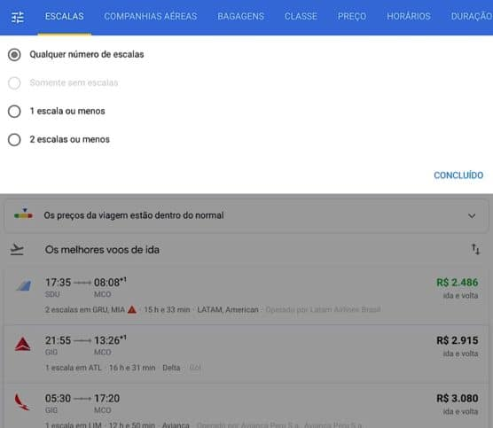 Filtros Google flights
