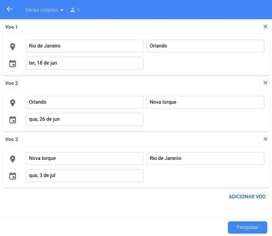 Escolhendo múltiplos destinos Google flights