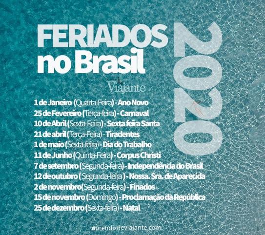 Feriados 2020 Brasil