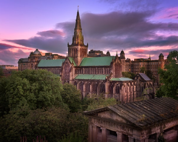 lasgow Cathedral and Glasgow Skyline in the Morning, Scotland, United Kingdom