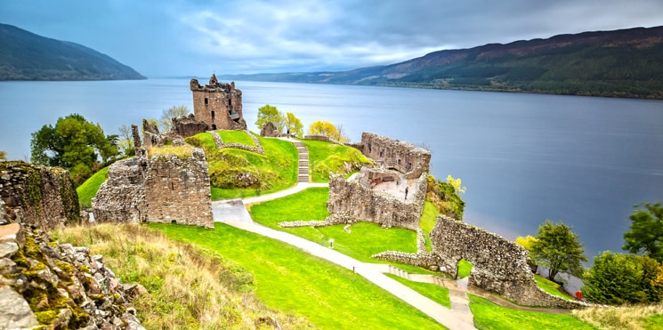 Urquhart Castle with Dark Cloud Sky